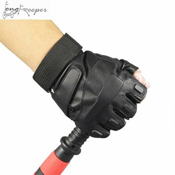 Cycling Military Tactical Army Gloves Slip Half Gloves Men Leather Fingerless Gloves Palm Wrist Protection Mitten Biking Luvas