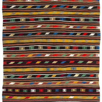 Handmade  Unique Striped Over Dyed Kilim Rug 5'11'' X 10'11'' FT 180 X 333 CM (Free Shipping)