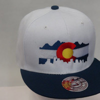 Colorado Flag logo with Denver Outline Embroidered on a Snapback  Unisex Free Shipping!!