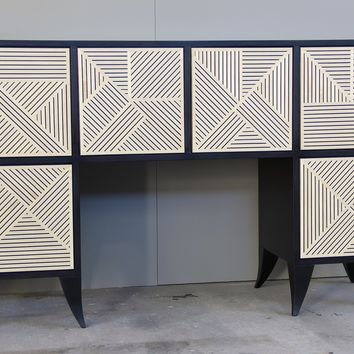 Cross-Hatched Console Cabinet by Kevin Irvin (Wood Cabinet) | Artful Home