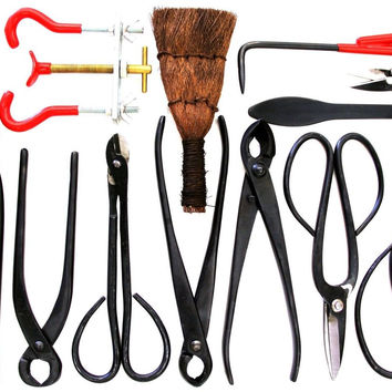 Stanwood Bonsai Tool 14-Piece Carbon Steel Shear Set and Tool Kit
