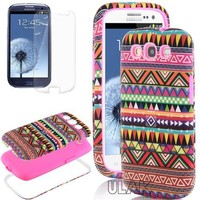 Pandamimi ULAK 3in1 Hybrid High Impact Pink Hard Aztec Tribal Pattern + Pink Silicone Case Cover For Samsung Galaxy S3 SIII i9300 +Screen Protector by ULAK