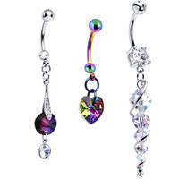 Winter Glamour Heart Belly Ring 3 Pack MADE WITH SWAROVSKI ELEMENTS | Body Candy Body Jewelry