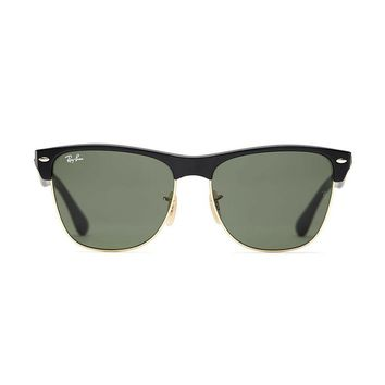 New Ray Ban Clubmaster Oversized Sunglasses Black RB4175 877 57mm Square UV Lens
