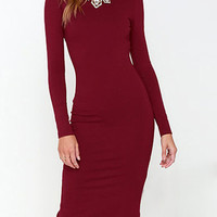 Wine Red Backless Long Sleeve Split Bodycon Dress