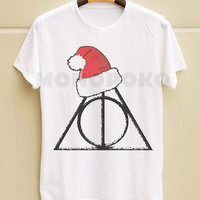 S M L XL -- Merry Christmas Deathly Hallows TShirts Funny Christmas TShirts White TShirts Men Shirts Women Shirts Men TShirts Women TShirts