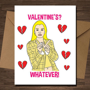 Funny Anti Valentine Card Clueless Valentine's? Whatever Pop Culture