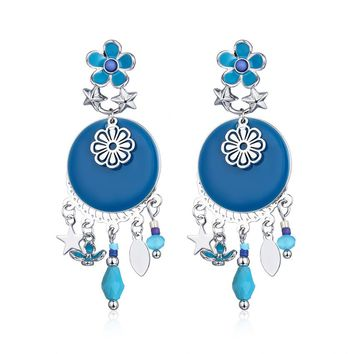 Brighton New Fashion Brincos Blue Black Enameling Round Flower Oval Star Charms Drop Earrings Pendant Women Ethnic Vintage Style