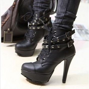 New Fashion womens winter pumps motorcycle ankle wintage fashion high heels gladiator balck buckles boots = 1946460932