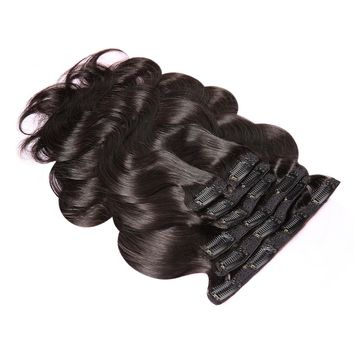 """Clip In Human Hair Extensions Body Wave 100G Natural Color 7 Pieces Set Remy Hair 14-22"""""""