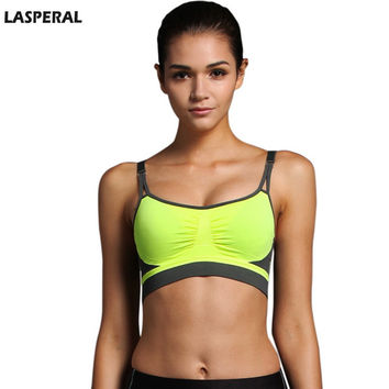LASPERAL Women Sports Bra Padded Wireless Crop Top Fit Running Gym Abort Sweat Quick Dry Short Tank Top Sport Bra Women Fitness