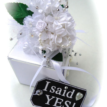 "Keepsake Bridal Bouquet (Miniature) - Engagement ""I Do"" Bouquet, Ornament, Wedding Remembrance, Gift for Bride, Bridal Shower Keepsake Gift"