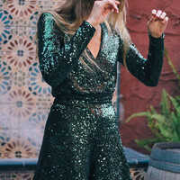 Oh My Love Allegre Plunging Sequin Romper | Urban Outfitters