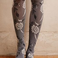 Tintoretta Textured Floral Tights in Grey Motif Size: