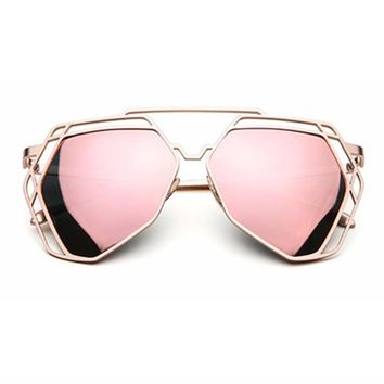 OUTEYE Brand Designer Big Mirror Sunglasses Women Hexagon Lovers Hippie UV400 Hollow Out Sun Glasses Female oculos shades W5