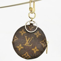 Louis Vuitton LV Fashion Monogram Print Leather Round Small Key Pouch Key Case Wallet Purse