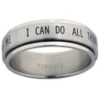 RSS7 Forgiven Jewelry-I Can Do All Things Stainless Steel Spinner Ring size 9-Christian Jewelry
