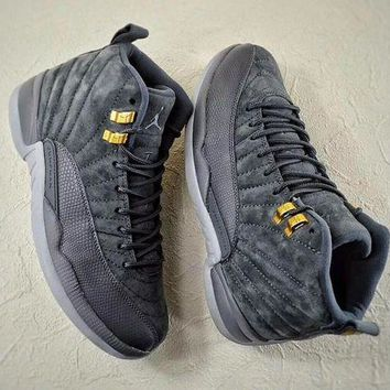 "AIR JORDAN 12 ""Dark Grey"" Suede"