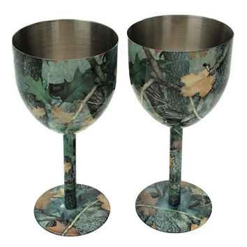 Camo Stainless Steel Wine Glass 2 Pc Set