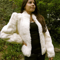 Vintage 70s 80s Glam Disco Rabbit Fur fitted by AmberRoseVintage