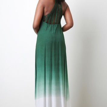 Crochet Racerback Ombre Maxi Dress