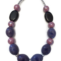 Purple Necklace - Chunky Necklace - Chunky Beaded Necklace