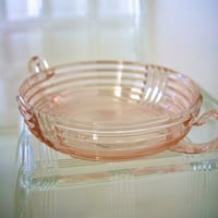 Pink Depression Glass Serving Bowl Candy Dish with Handles