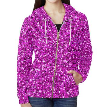 Pink Glitter Women's All Over Print Full Zip Hoodie