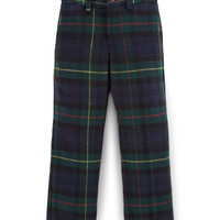 Tartan Plaid Slim-Fit Pants, Navy, Size 2-7,