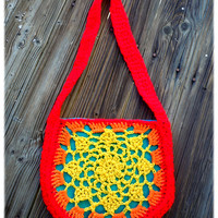 Crochet Yellow Orange & Red Sunburst Purse with Blue Lining