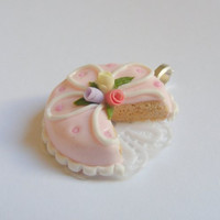 Scented or Unscented Iced Roses Cake Necklace Pendant - Miniature Food Jewelry