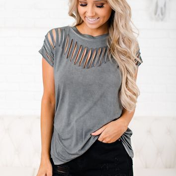 Growing Up Distressed T-Shirt (Charcoal)