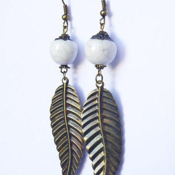 White Ceramic Bead Feather earrings dangle - artisanal and one of kind