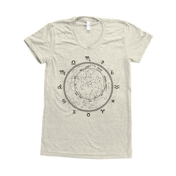 Constellation Print Shirt Women Custom Hand Screen Printed on American Apparel Tri-Blend Short Sleeve Tshirt Available: S, M, L, XL