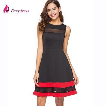 Berydress Cute Women Skater Dress Sleeveless Contrast Color Stripe Patchwork Sexy Mesh Ilssuion Casual A-Line Mini Dress Short
