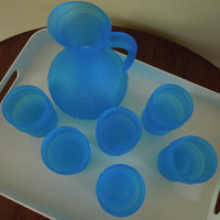 Pitcher and Glasses Blue Turquoise Glass