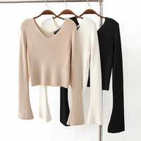 Fashion Loose  V collar  Knitwear Sweater