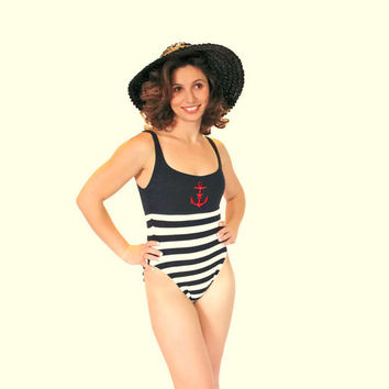 SALE Vintage Swimsuit. One Piece Swimsuit by La Blanca. Black White Stripes. Red Anchor Embellishment. Small. French Cut Hips. Beach