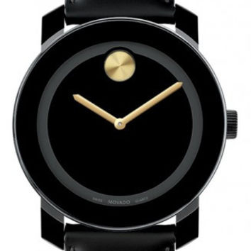 Movado Bold Midsize 42mm Black Leather Black Dial Gold Tone Dot Watch  3600046