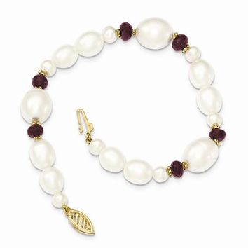 14K Yellow Gold Fresh Water Cultured Pearl and Faceted Garnet Bead Bracelet