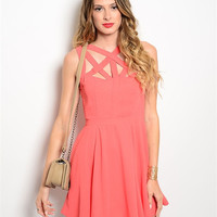 Coral Caged Dress