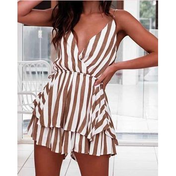 only for the night striped skort romper in beige/white