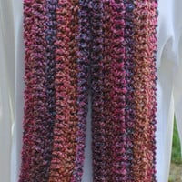 Coral Reef Hand Crocheted Scarf with Fringe