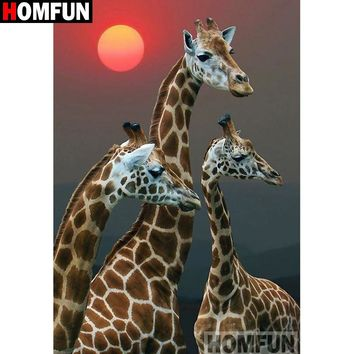 5D Diamond Painting Three Giraffe Sun Kit