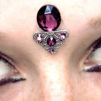 Oracle Bindi, purple glass gem, faceted, silver filigree, goddess, magic, fairy, fae, tribal fusion, bellydance, gypsy, third eye chakra