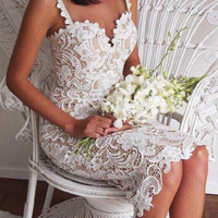 Lace Openwork Crochet Straps Midi Bodycon Party Tube Dress Open Back