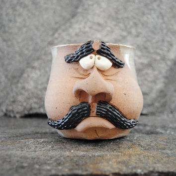 Pottery mug, mustache mug, face mug, ceramic coffee mug, left handed