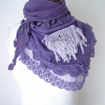 Women scarf, Cotton scarf, Boho Scarf, Triangle scarf, Fashion scarves, Purple Accessories, Purple scarf, Lace scarf, Fashion scarf Trendy
