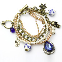 Pearl Chain Bracelet with Skull and Porcelain Jewels Multi