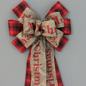 Merry Christmas Newsprint Red Black Plaid Bow